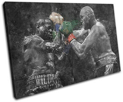 Boxing Grunge Wilder Fury Sports SINGLE CANVAS WALL ART Picture Print • 24.99£