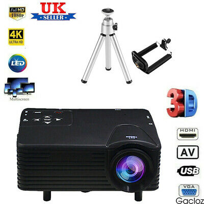 Mini Portable Projector 4KHD 1080P LED Home Cinema Theater Video AV HDMI USB • 34.59£