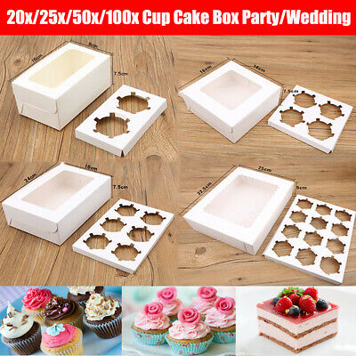 AU33.99 • Buy Cupcake Box Cases 2 Hole 4 Hole 6 Hole 12 Hole 24 Hole Window Face Party Wedding