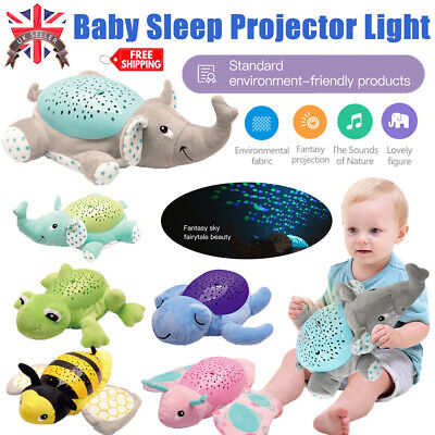 Children LED Star Projector Night Light Baby Sleep Aid Lamp Toy Music Plush Gift • 18.79£
