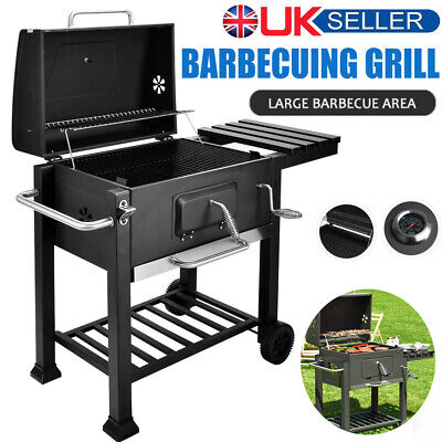 Large Charcoal BBQ Smoker Grill Trolley Cart Cooking Outdoor Garden Barbecue UK • 92.98£
