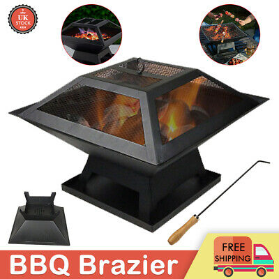 Fire Pit BBQ Grill Outdoor Garden Firepit Brazier Stove Patio Heater Camping New • 29.99£