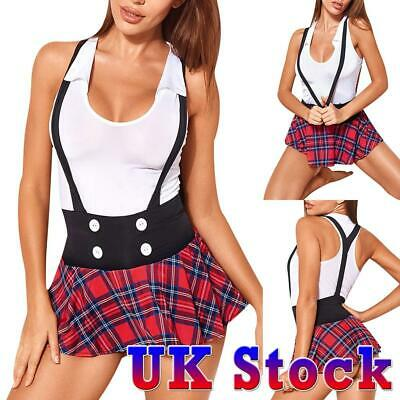 Sexy Lingerie Women's Mesh Cosplay Uniform Schoolgirl Outfit Fancy Dresses UK • 5.69£