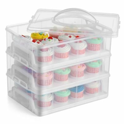 3 Tier Stackable Cupcake Carrier Box Muffin Cake Holder Plastic Clear Container • 15.99£