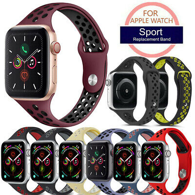 $ CDN9.21 • Buy For Apple Watch Series 5 4 3 2 1 Silicone Band Slim Thin Straps Breathable Holes