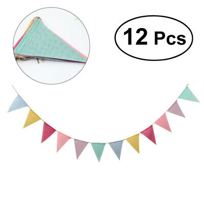 Hessian Fabric Bunting Shabby Chic Flags Banner Vintage Wedding Party Outdoor • 2.76£