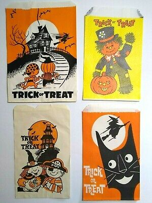 $ CDN14.55 • Buy Vintage Halloween Trick Or Treat Candy Bags Black Cat Bats Haunted Houses Set 4