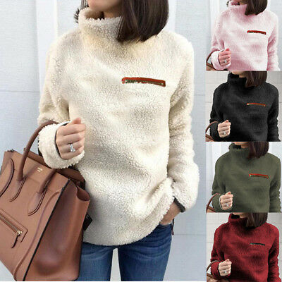 £13.39 • Buy Womens Thick Warm Fluffy Fleece Sweater Ladies Winter High Neck Pullover Jumper