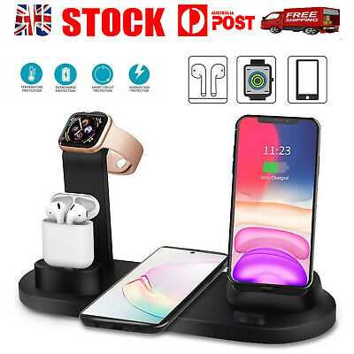 AU22.60 • Buy 3in1 Qi Wireless Charger Fast Charging Dock Stand For Airpods IWatch IPhone
