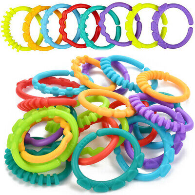 24X Colorful Plastic Teething Ring Links Baby Kids Sensory Chewable Teether Toy • 5.05£