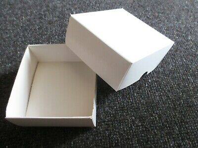 5 White Cardboard Fold Up Boxes Gift Posting -wedding Cake - Jewellery - Craft • 4£