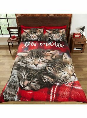 Cuddle Kittens Duvet Cover Set Photographic Sleeping Cats Tartan Red King Size • 35.95£