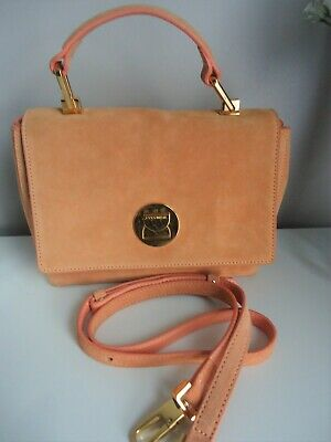Coccinelle Liya Mini Suede Grab/shoulder Bag - Apricot - Vgc • 95£