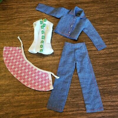 $24.99 • Buy Vintage Kenner Dusty Doll Clothes 1970s Denim Suit Golf Skirt Tennis Dress