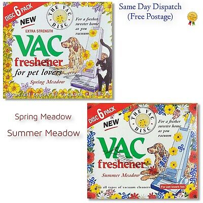 2x 6 PACK Vac Disc Air Freshener SPRING &SUMMER Vacuum Cleaner Pet Lovers Hoover • 3.59£