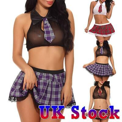 UK Women Sexy Lingerie School Girl Uniform Plaid Skirt Role Play Costume Outfits • 5.99£