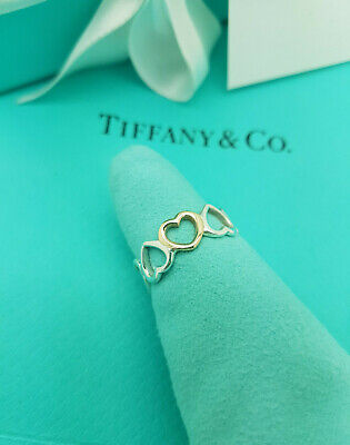 Tiffany & Co. Silver 18k Rose Gold Open Hearts Band Ring Size O UK, 7.25US, 55EU • 387.99£