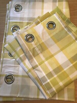 Next Curtains Pair Yellow White Ochre Check Eyelet Lined 53 X 72 VGC • 12.99£