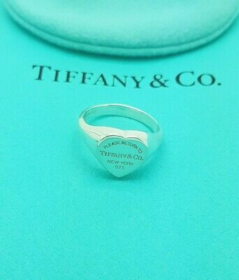 Return To Tiffany & Co. Silver Heart Signet Ring Size L UK Or 5.75 US, 51 EU • 267.99£