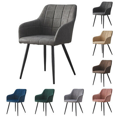 £119.99 • Buy 2× Kitchen Dining Chairs Velvet Faux Leather Fabric Padded Home Office Chair Set