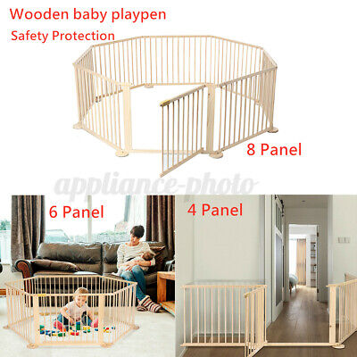 Foldable Wood Baby Playpen Safety Kids Play Yard Fence Guard Gate Room Divider • 42.46£
