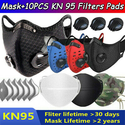 $ CDN19.48 • Buy Outdoor Sport Face Mask W/Valve & 3/4/5 Layer 10PCS Activated Carbon Filter Pad