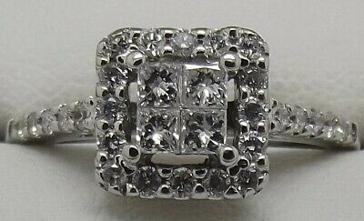 AU834 • Buy Solid 14ct White Gold Natural Diamond Engagement/dress Ring Size J1/2 Val $2095