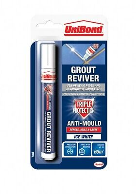 🔥 Unibond Grout Pen Reviver 7ml  Anti Mould Whitener Ice White MULTI LISTING • 5.99£