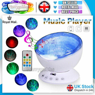 Ocean Wave LED Night Light Ceiling Projector Lamp With Music Speaker Kid Bedroom • 13.69£