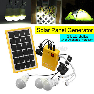 Solar Panel Power Charging Generator Home System Kit With 3 LED Bulbs Outdoor UK • 24.83£