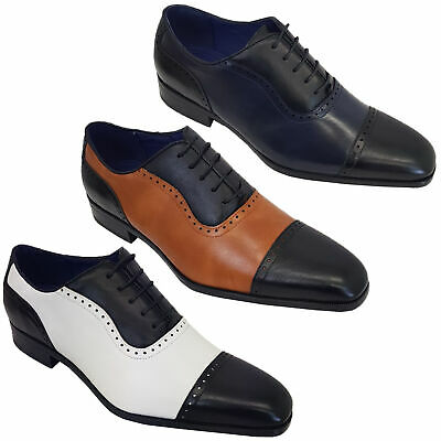 Mens Italian Style Shoes Brogue Formal Two Tone Lace Up Patent Casual Pointed • 19.98£