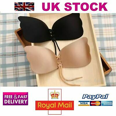 SILICONE STRAPLESS BRA Backless Push Up Adhesive With Drawstrings Invisible UK • 2.99£