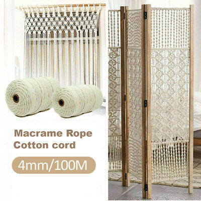 AU13.99 • Buy 4mm 100M Macrame Rope Natural Beige Cotton Twisted Cord Artisan Hand Craft