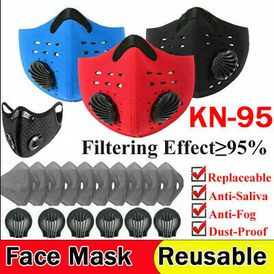 AU19.86 • Buy Face Cover Mask With Valve +10 Filters Pads Washable Sport 3/4/5 Layers Filters