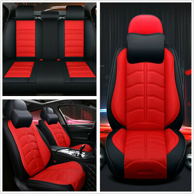 $ CDN174.83 • Buy 1 Set Deluxe Edition Seat Cover PU Leather Red Universal Fit For 5-Seats Car