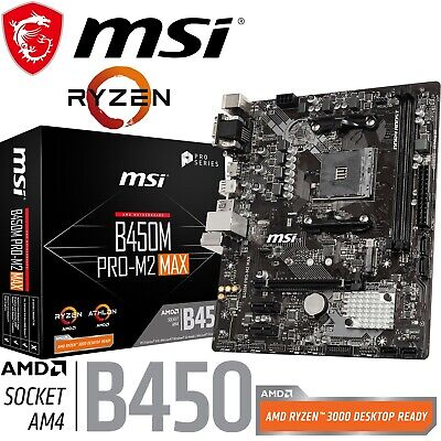AU135 • Buy MSI Gaming Motherboard B450M PRO-M2 MAX AMD AM4 Micro ATX USB 3.2 Gen2 M.2