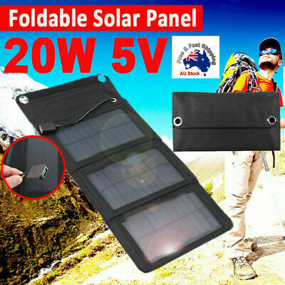 AU32.99 • Buy Foldable USB Solar Panel Power Bank Panel Phone Charger For Camping Hiking 20W