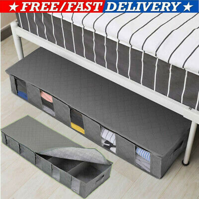 BEST Large Capacity Under Bed Storage Bag Box 5 Compartments Clothes Organizer • 7.98£