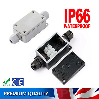 2 Way Outdoor Waterproof Junction Box Ip66 Cable Gland Connector Wire Protection • 5.29£