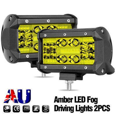 AU39.99 • Buy 2x 5 Inch Quad Row LED Work Lights Spot Flood Combo Amber 3000K Driving Offroad