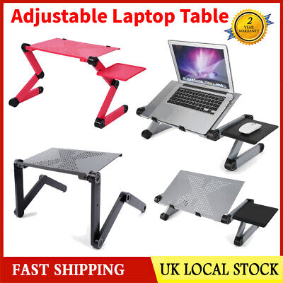 Adjustable Portable Folding Laptop Desk Computer Table Stand Tray For Bed Sofa • 15.99£