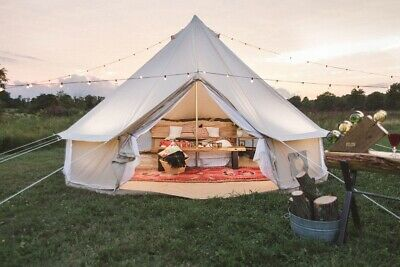 UK Shipped Waterproof Family Camping Cotton Canvas Bell Tent Glamping Yurt Tent • 449£