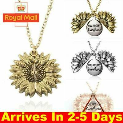 You Are My Sunshine  Open Locket Sunflower Pendant Necklace Women's Gift UK • 2.99£