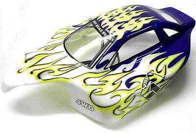 81339 Off Road Nitro RC 1/8 Scale Buggy Body Shell Cover Green Flame Cut • 17.99£