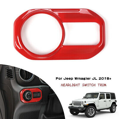 $12.99 • Buy Red Headlight Switch Cover Trim Button Panel For 2018-2020 Jeep Wrangler JL