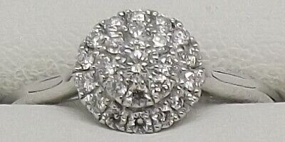 AU474 • Buy Solid 9ct White Gold Natural Diamond Engagement/dress Ring - Size N1/2