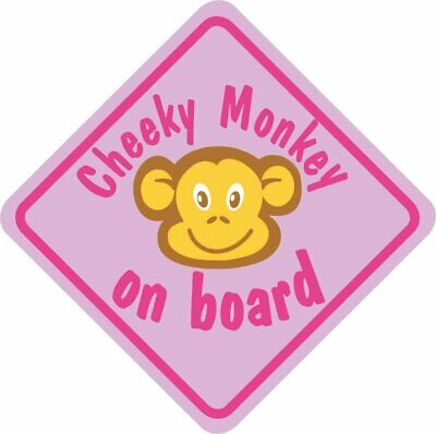 £3.39 • Buy Pink Cheeky Monkey On Board Car Window Child Safety Sign With Suction Cup