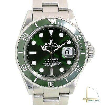 $ CDN14246.29 • Buy Rolex Submariner Mens Watch Green Luminous Dial & Insert Stainless Steel Watch