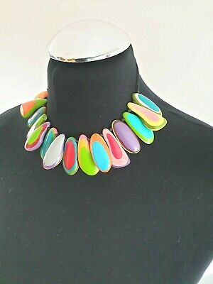 Signed Karma Hand Knotted  Multi Colour Layered Bead Chunky Collar Necklace • 12.99£