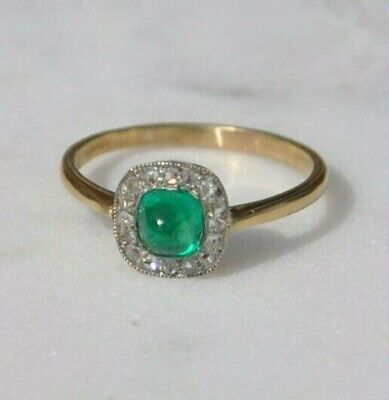 Art Deco Colombian Sugarloaf Emerald And Diamond Cluster Ring, Circa 1920 • 2,200£